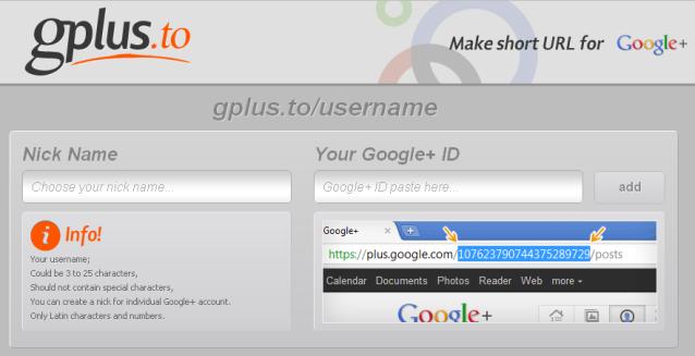 Google+ url shortener