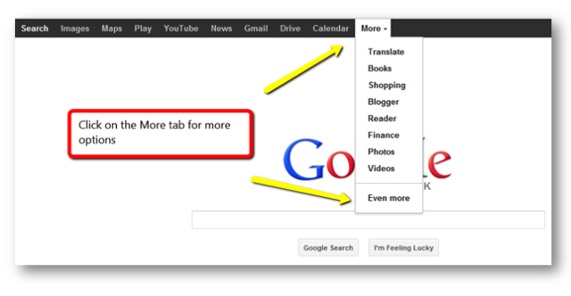 Google more tab