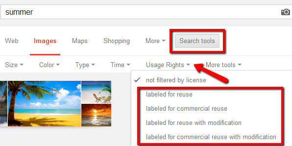 Google Search usage rights