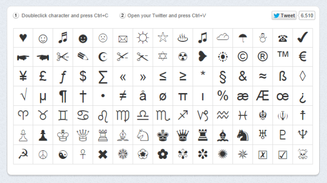 Symbols to ad to tweets
