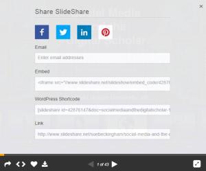 Slideshare share options