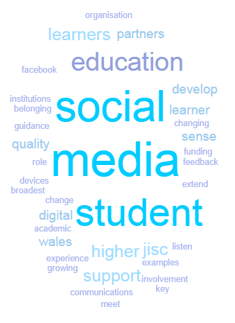 Google wordcloud - Tes from Jisc article : Listen, understand, act: social media for engagement